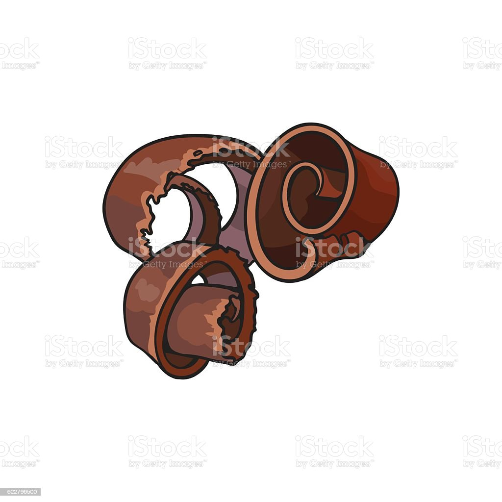 Dark chocolate shaving, curl, spiral for cake decoration vector art illustration