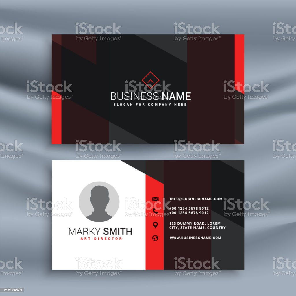 dark corporate business card with profile photo vector art illustration
