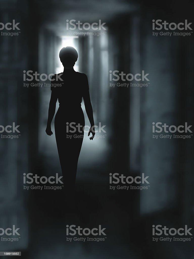 Dark corridor vector art illustration