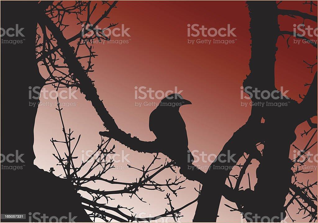 Dark Crow in Tree Silhouette Vector royalty-free stock vector art