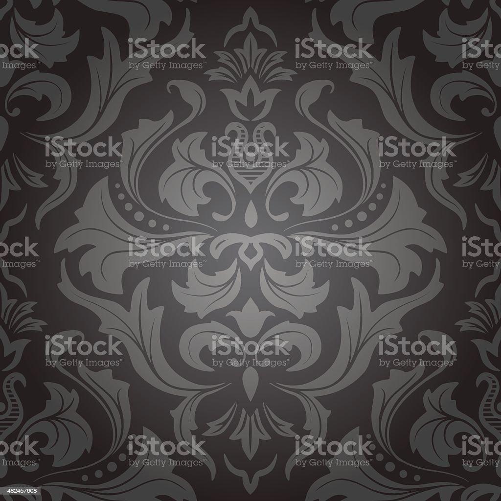 Dark damask seamless floral pattern. vector art illustration