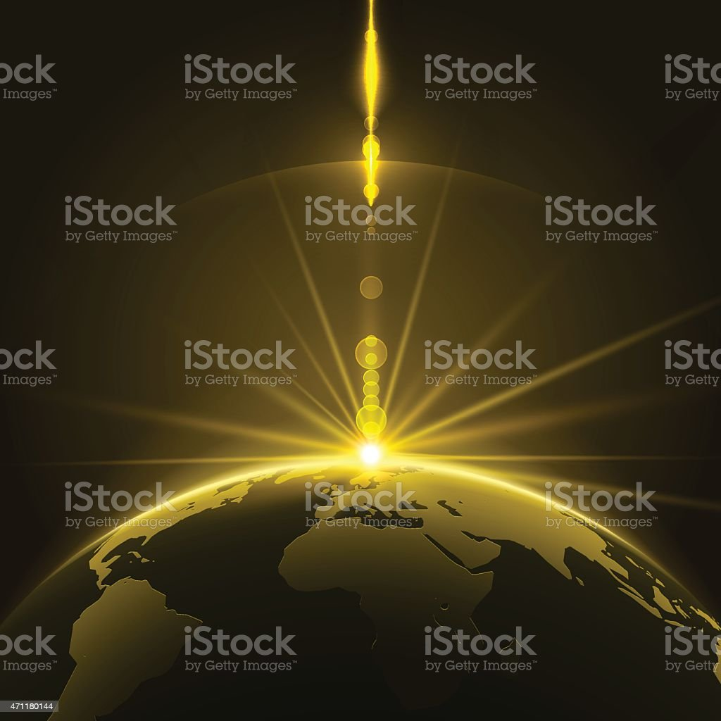 A dark Earth illuminated by the sun at the horizon line vector art illustration