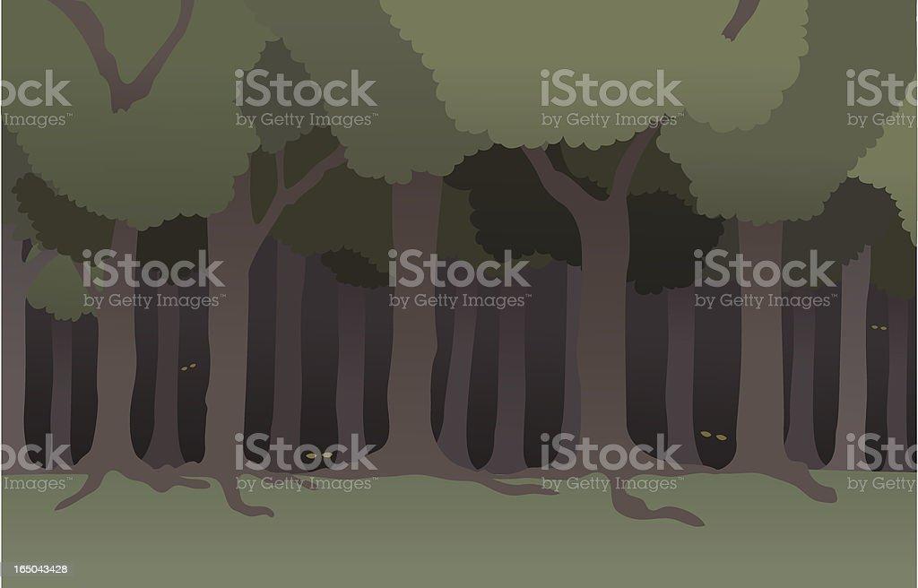 Dark Forest vector art illustration