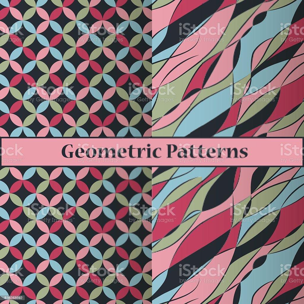 Dark geometric patterns vector art illustration
