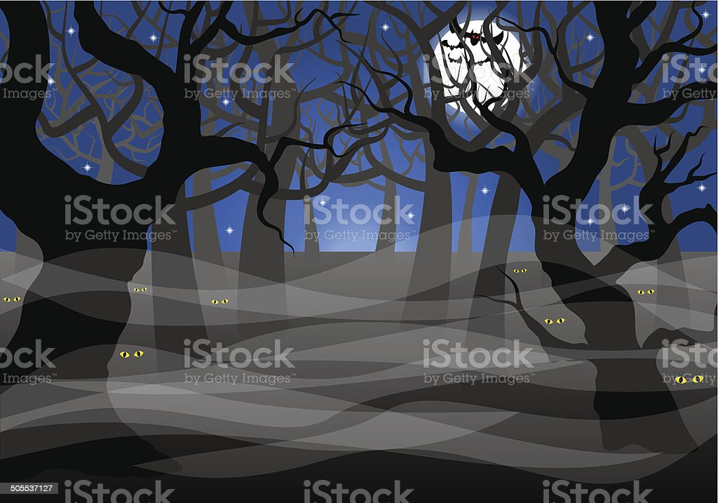 dark ghostly forest and full moon vector art illustration