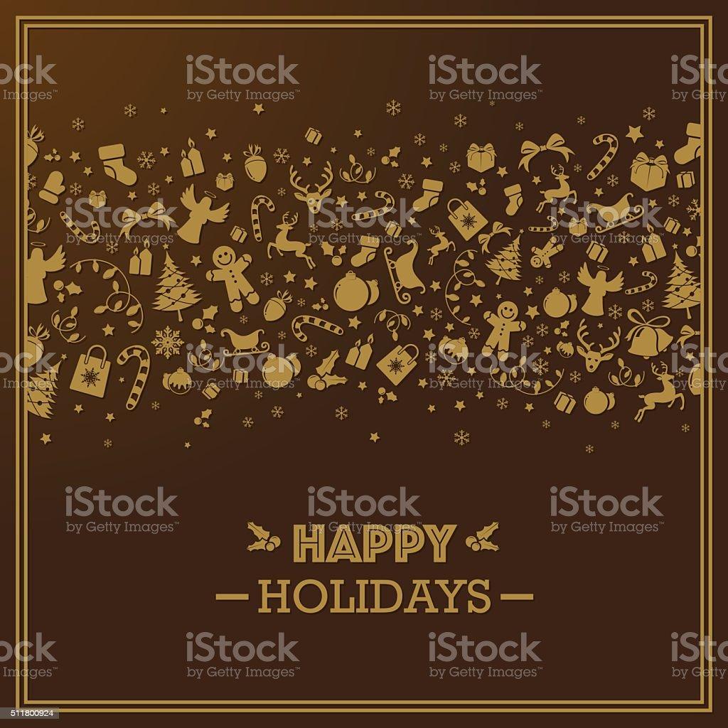Dark golden quare holiday season card vector art illustration