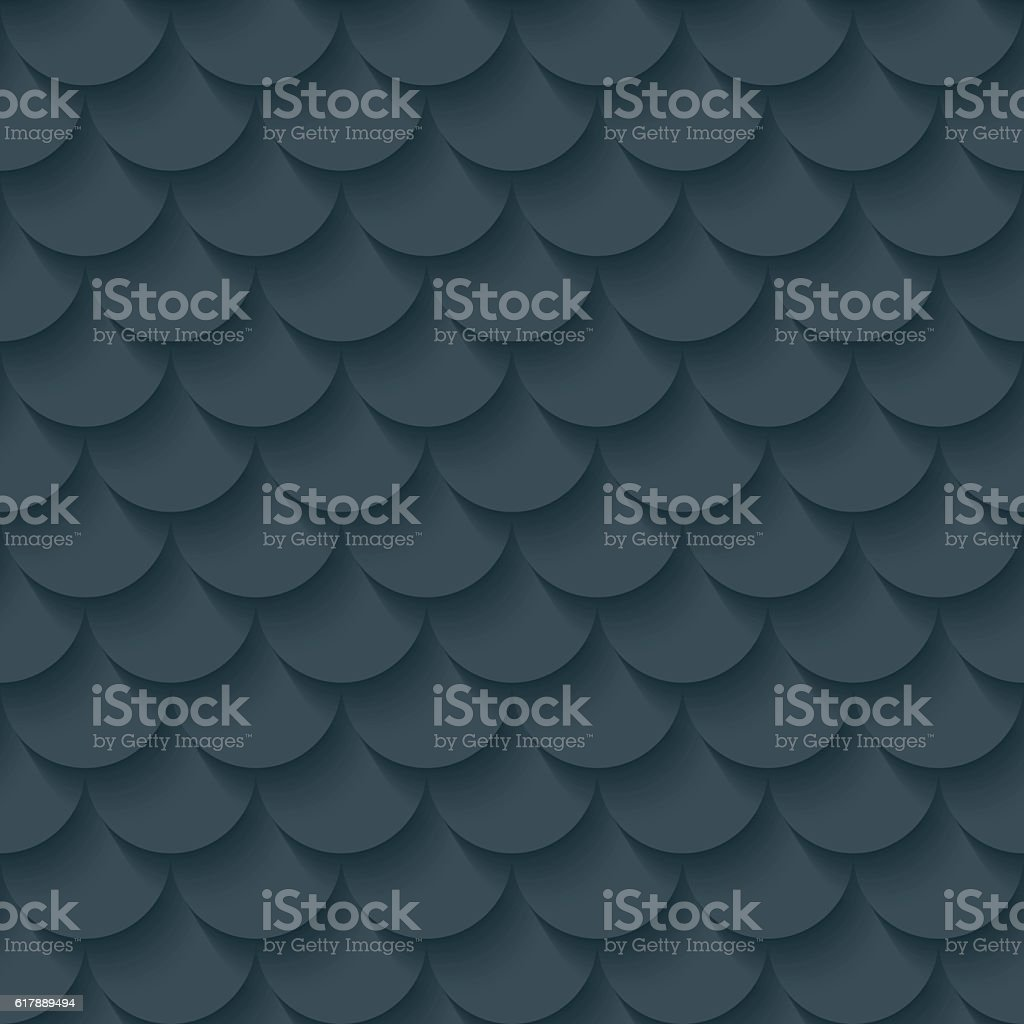Dark gray fish scale seamless background. vector art illustration