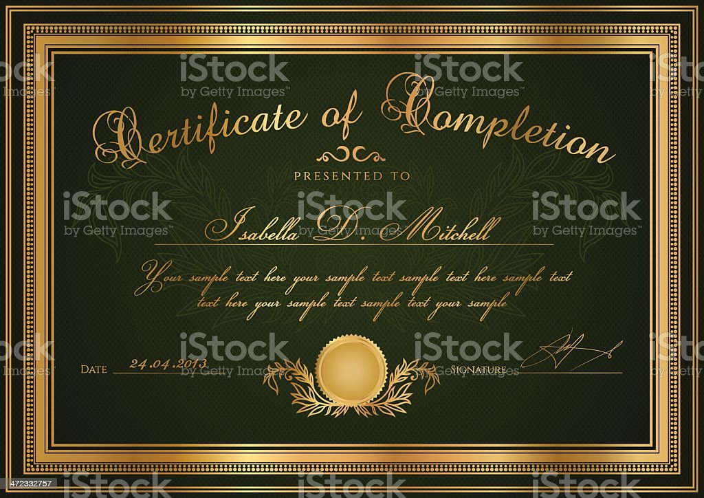 Dark Green Certificate / Diploma / Coupon (template). Award background (pattern, frame) royalty-free stock vector art