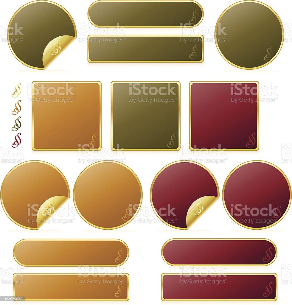 Dunkel Grün, Orange, Rose-farbige Knöpfe und Symbole-Set Lizenzfreies vektor illustration