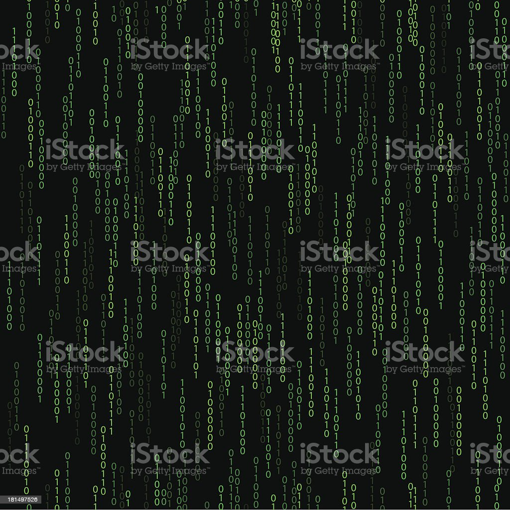 dark green seamless pattern with binary code royalty-free stock vector art