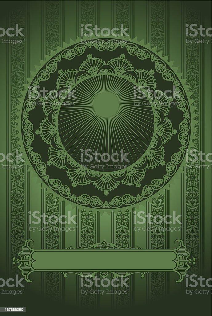 Dark Green Vintage Luxury High Ornate Background royalty-free stock vector art