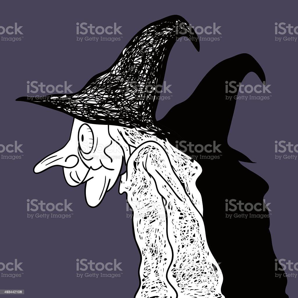 Dark Halloween Wicked Witch Art Drawing. vector art illustration