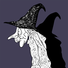 Dark Halloween Wicked Witch Art Drawing. vector art illustration