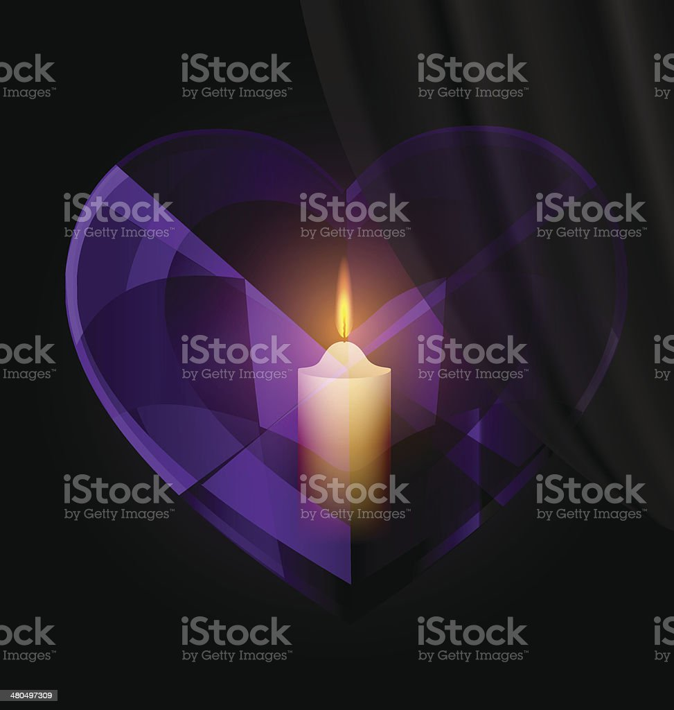 dark heart-crystal and candle vector art illustration