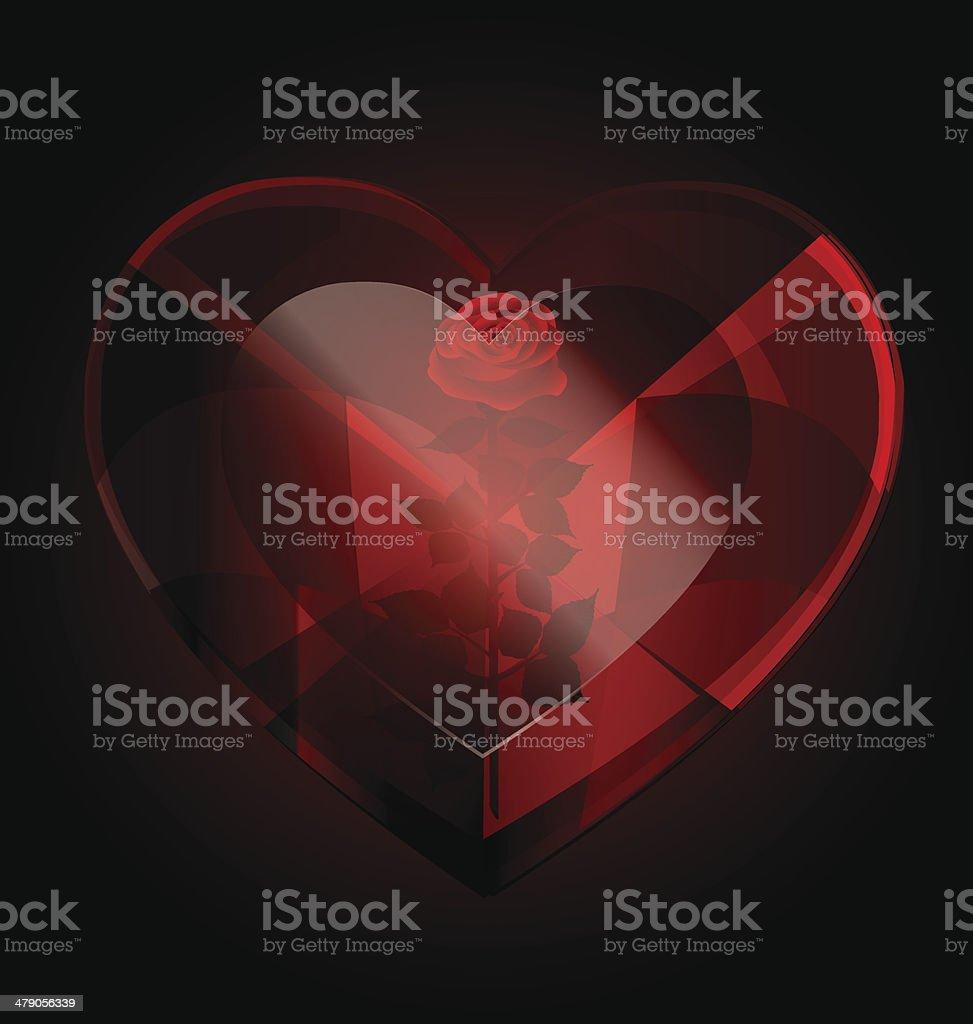 dark heart-crystal and rose vector art illustration