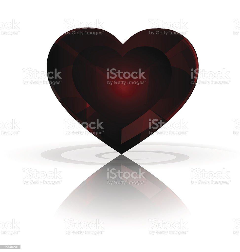 dark heart-crystal vector art illustration