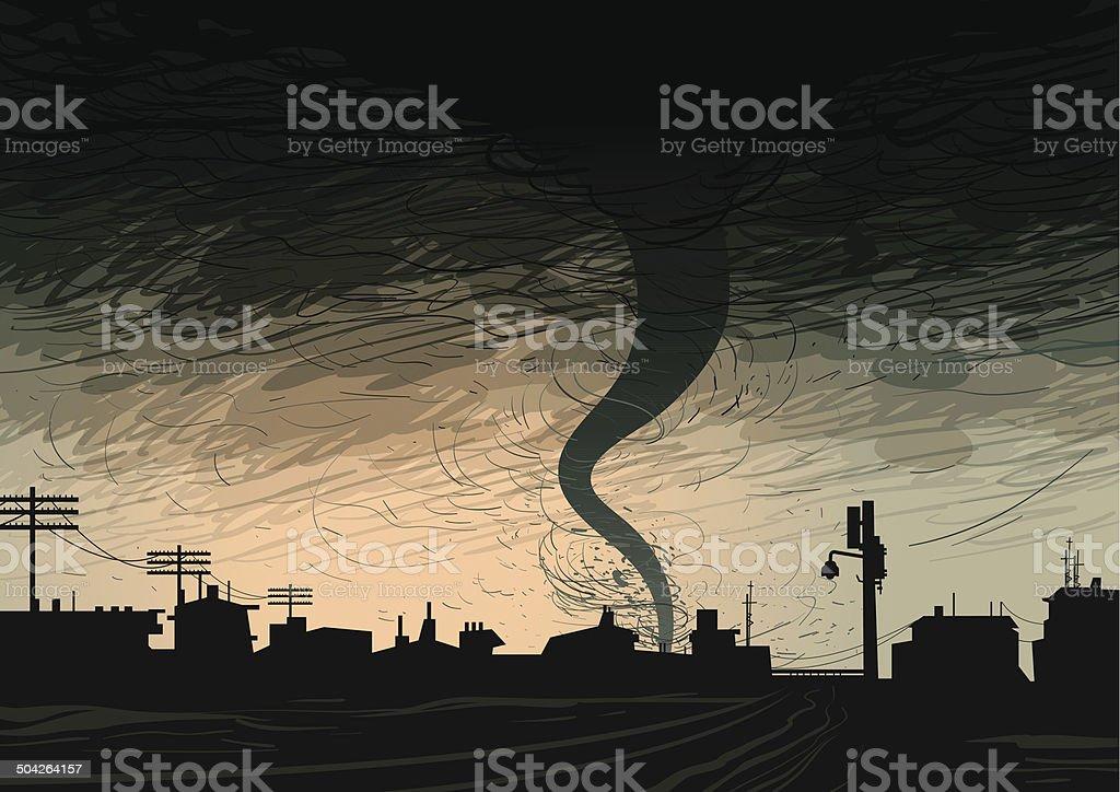 Dark Hurricane vector art illustration
