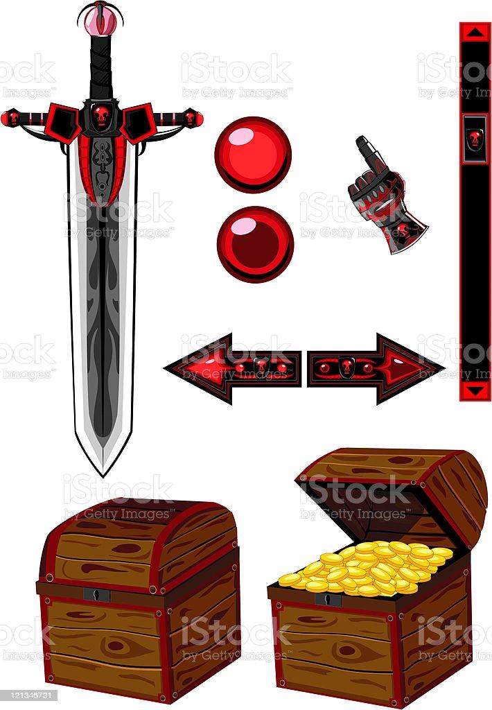 Dark icons set vector art illustration