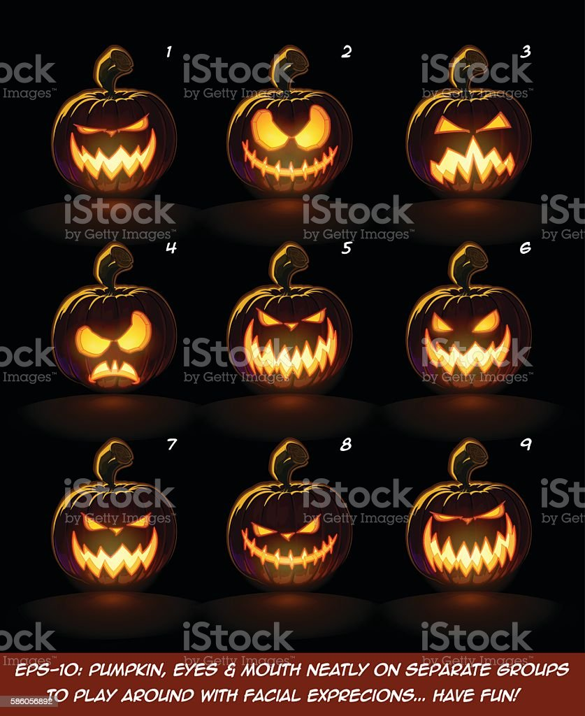 Dark Jack O Lantern Cartoon - 9 Angry Expressions Set2 vector art illustration
