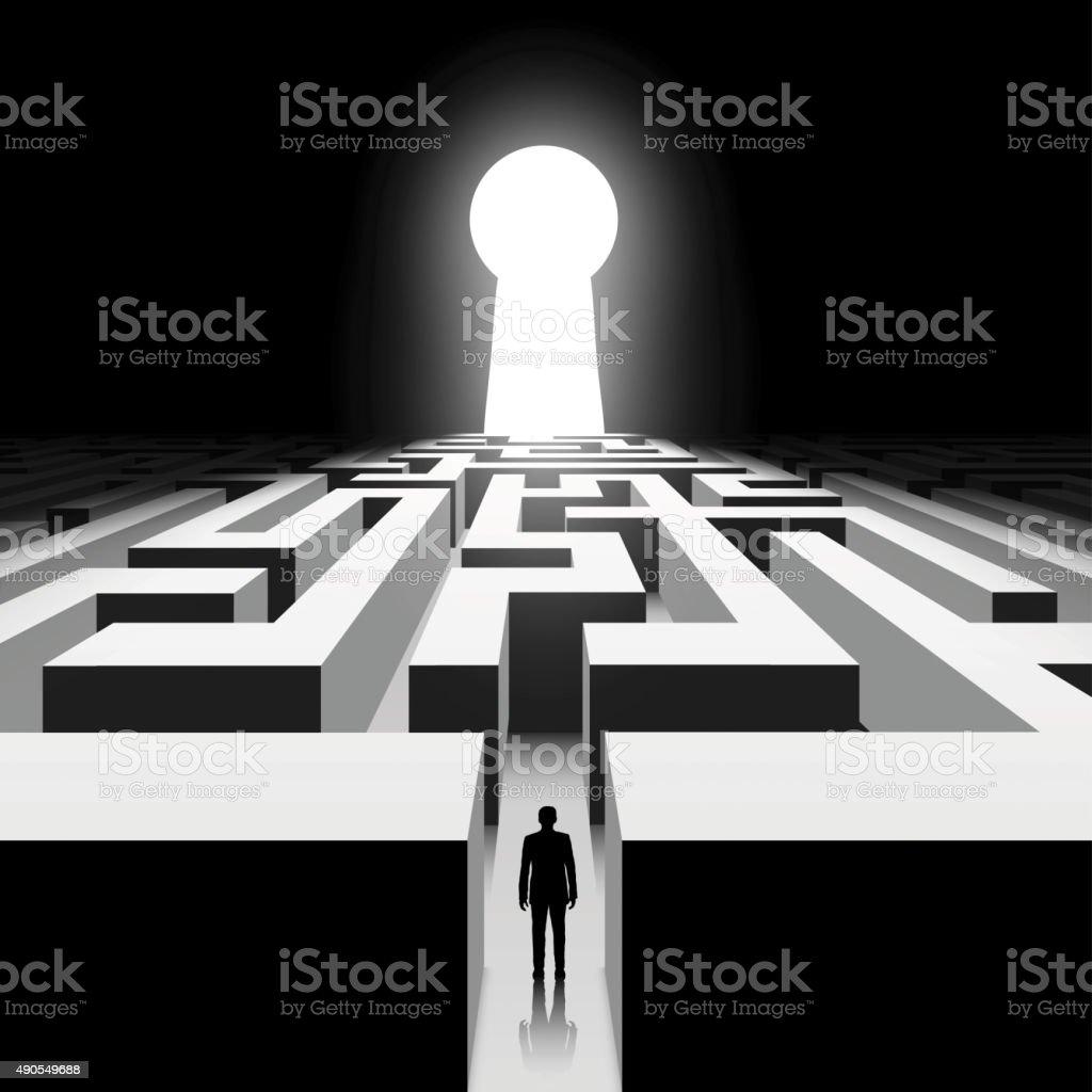 Dark labyrinth. vector art illustration