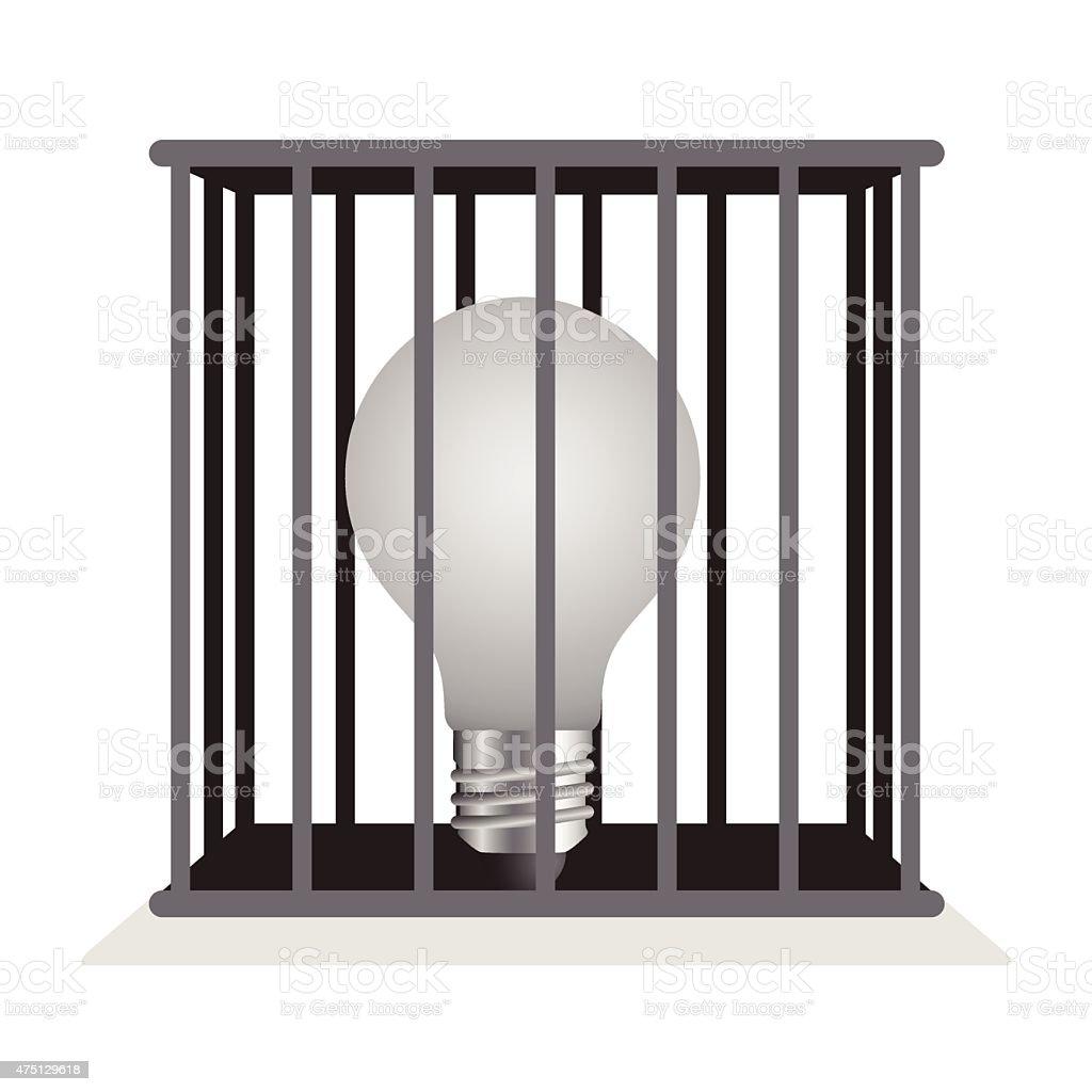 Dark light bulb in a cage. vector art illustration