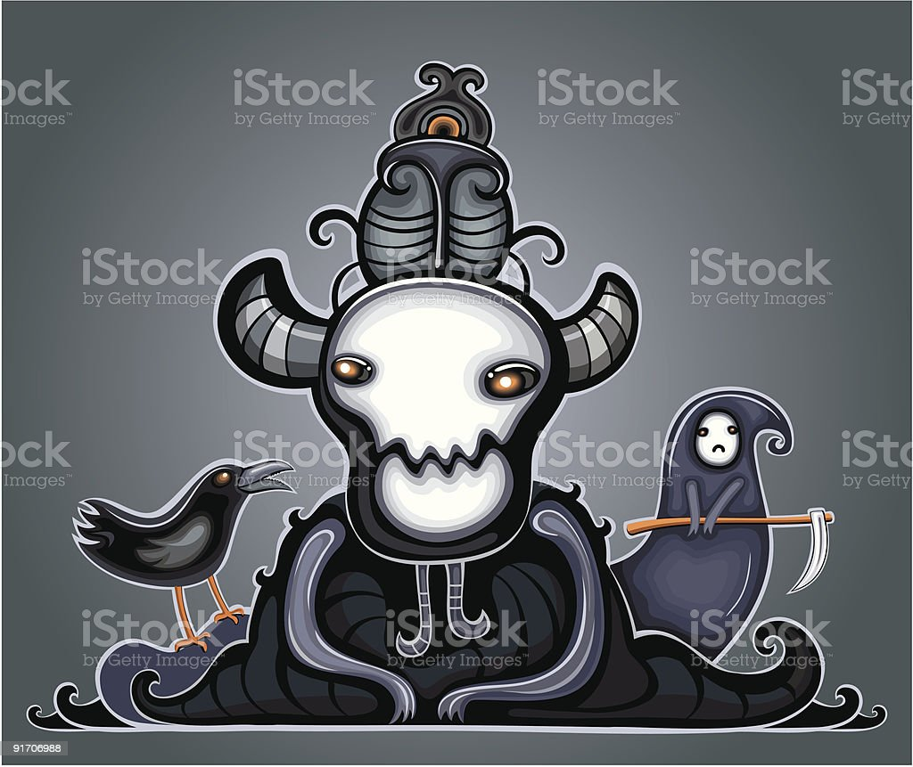 Dark Lord and his followers royalty-free stock vector art