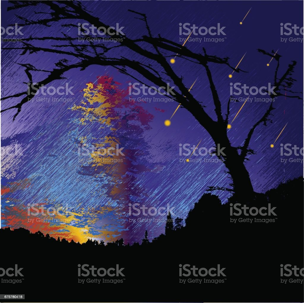 Dark night landscape with silhouettes of trees, clouds and falling meteorites vector art illustration