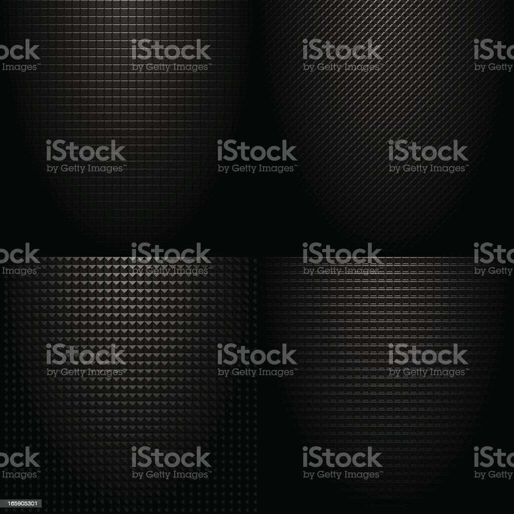 Dark ominous checked tile pattern on black background vector art illustration