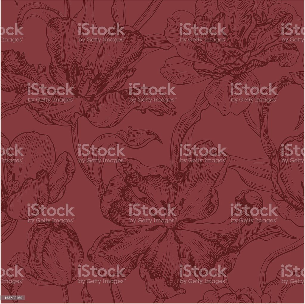 dark pattern with tulips royalty-free stock vector art