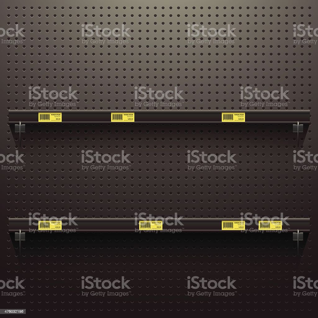Dark Pegboard Background with shelves and price tags vector art illustration