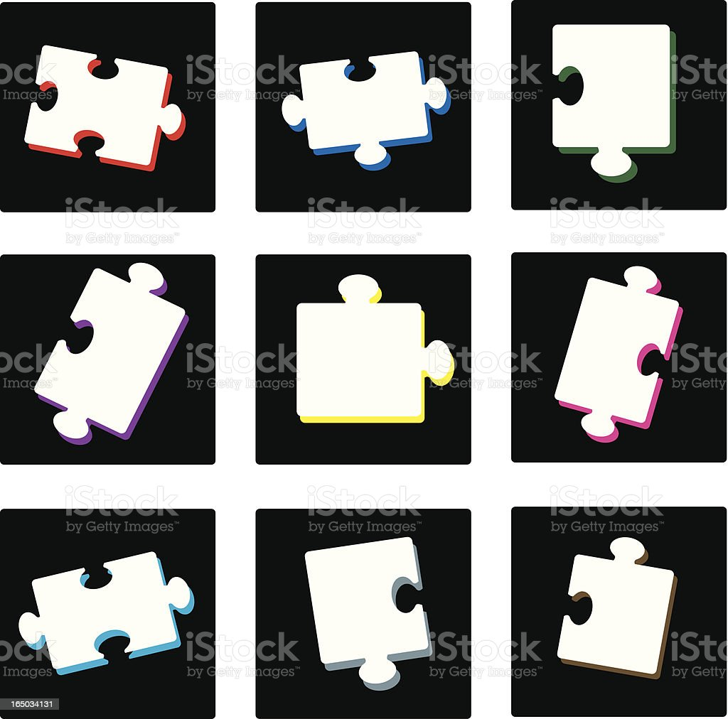 Dark Puzzle Squares (vector illustration) royalty-free stock vector art