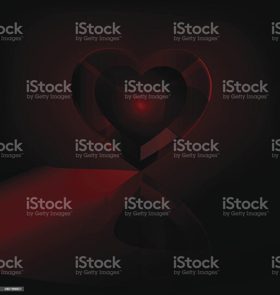 dark red heart-crystal vector art illustration