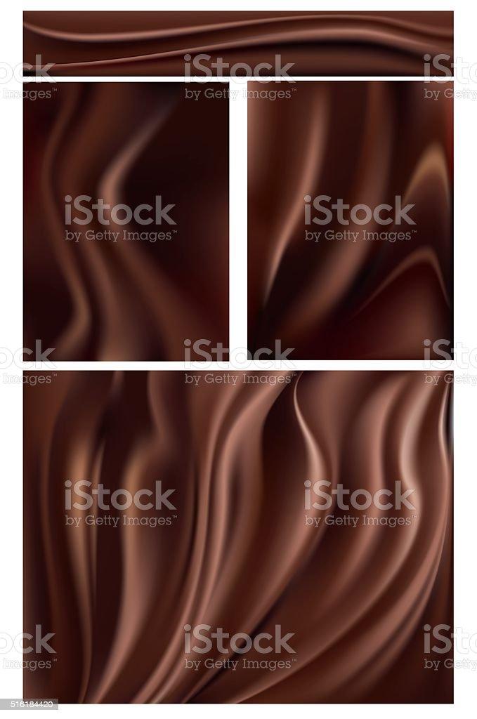 Dark Rich Chocolate Swirl Background Set vector art illustration
