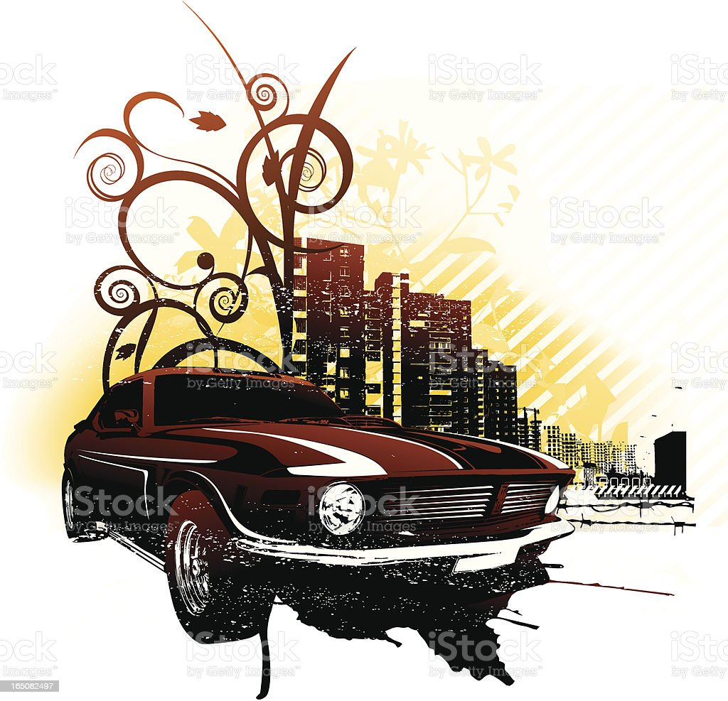 dark ride vector art illustration