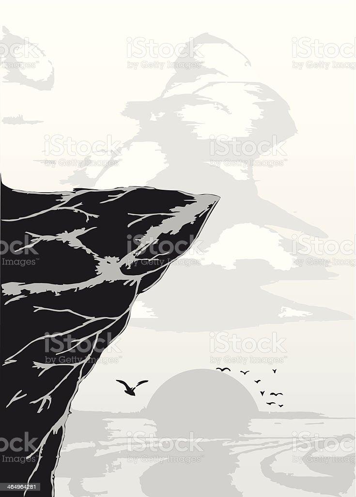 Dark rock vector art illustration