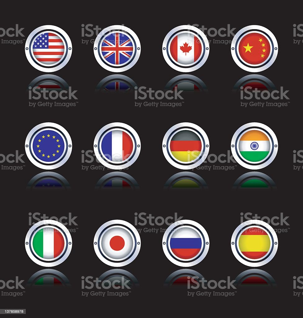 Dark Round Flags royalty-free stock vector art