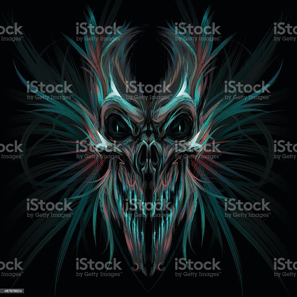 Dark screaming skull vector art illustration