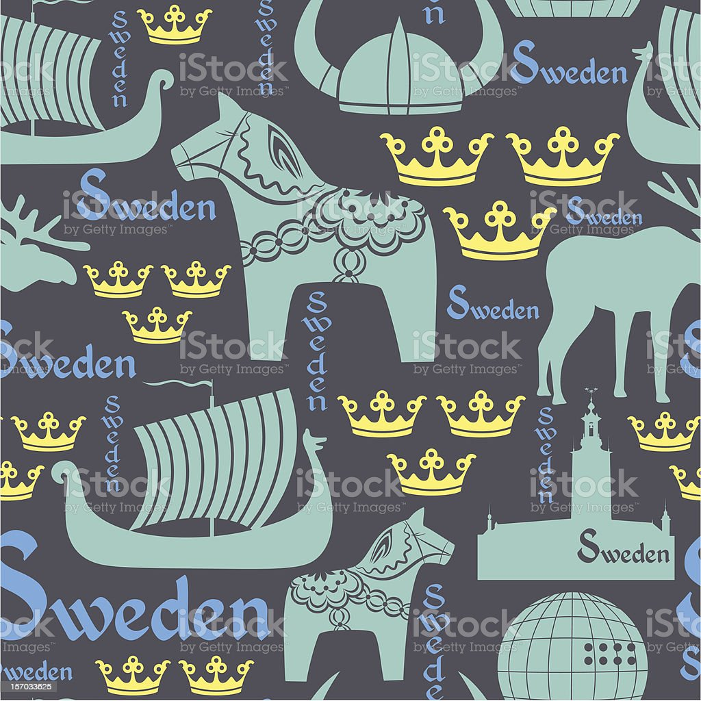 Dark seamless pattern with symbols of Sweden royalty-free stock vector art