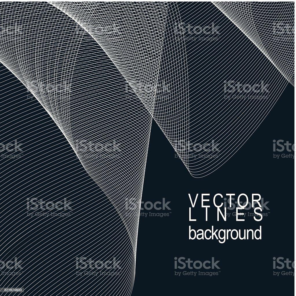 Dark striped decorative wavy template, silky textile curves vector art illustration