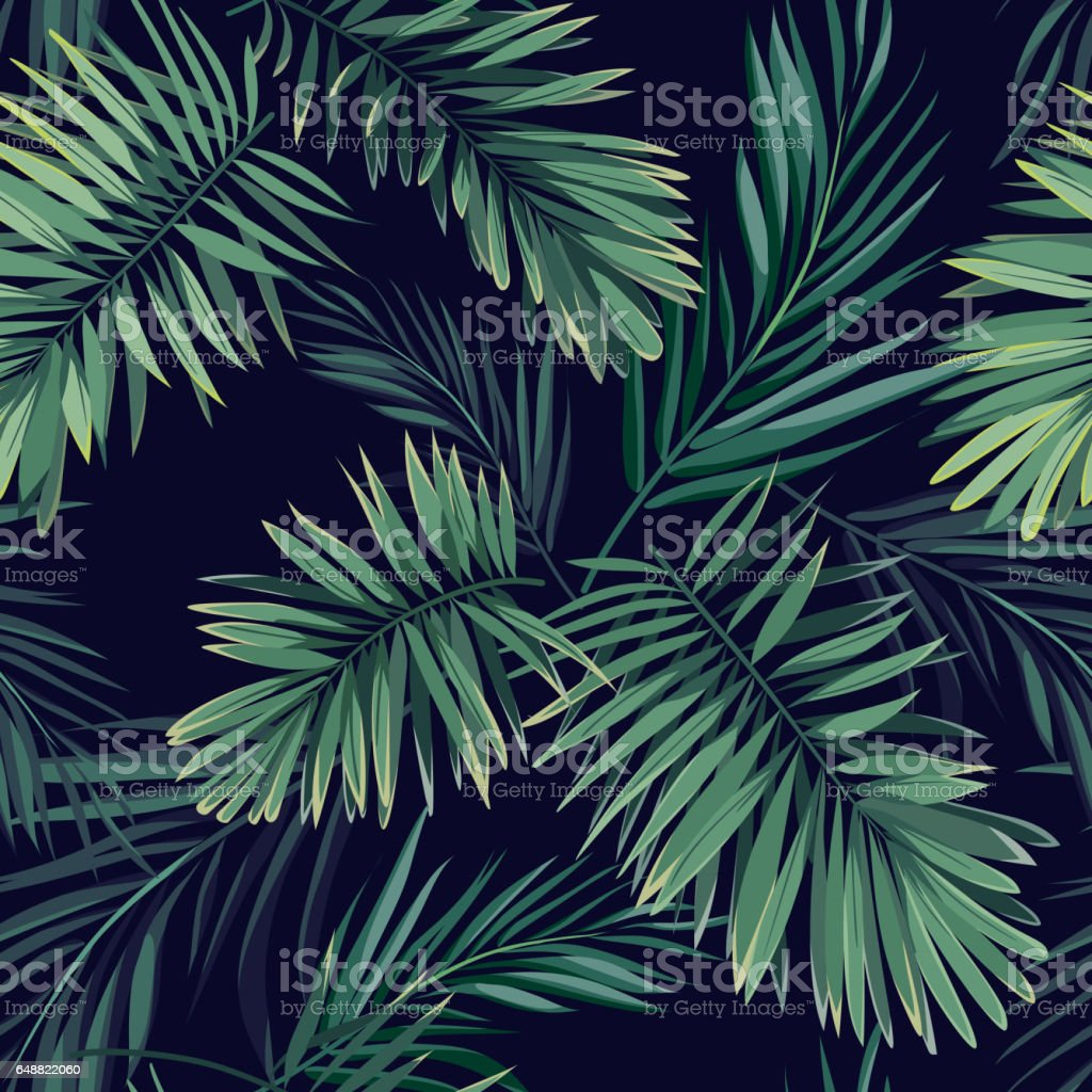 Dark tropical background with jungle plants. Seamless vector tropical pattern with green phoenix palm leaves vector art illustration