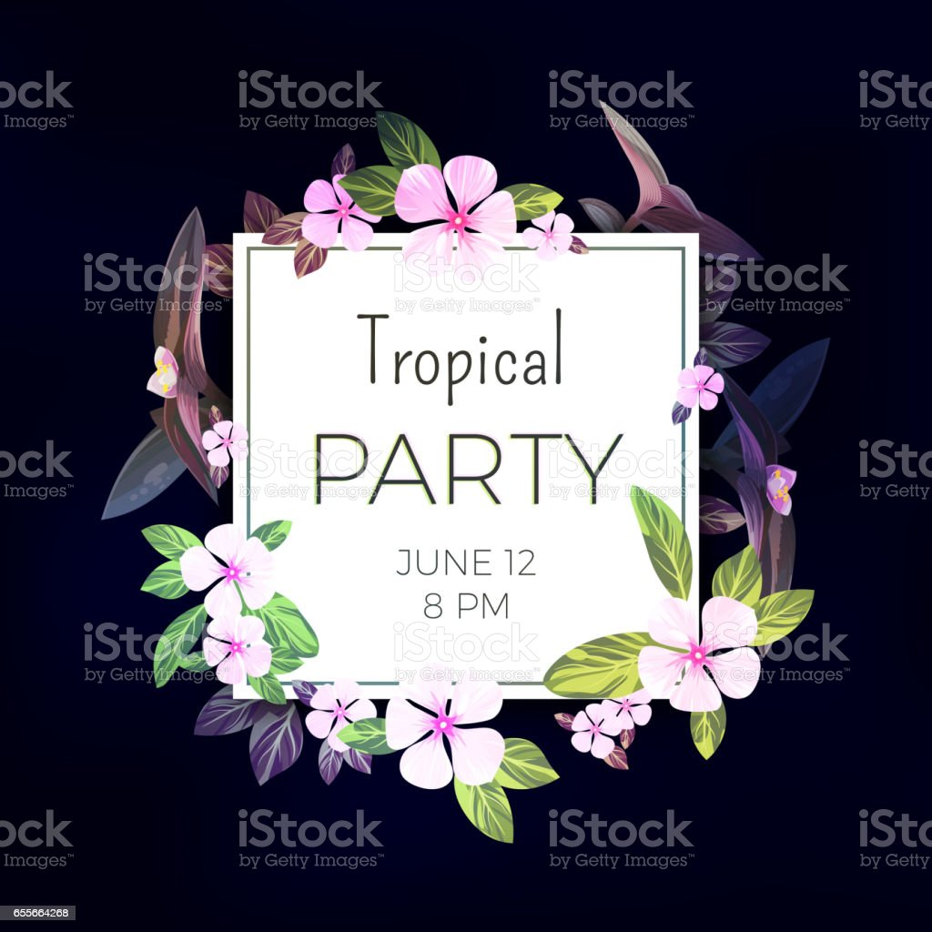 Dark tropical background with pink and purple flowers. Exotic summer...