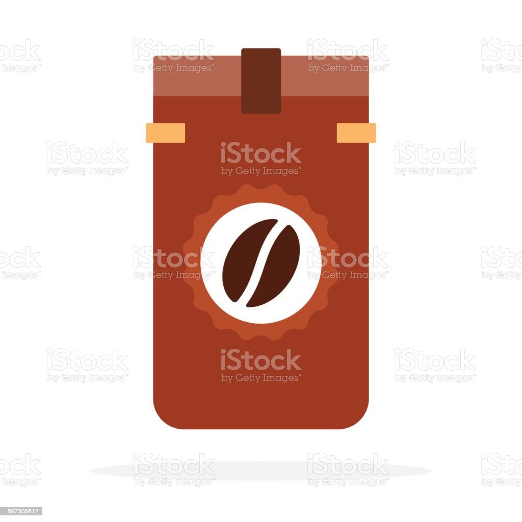 Dark Viennese coffee beans roasted in the package vector flat isolated vector art illustration