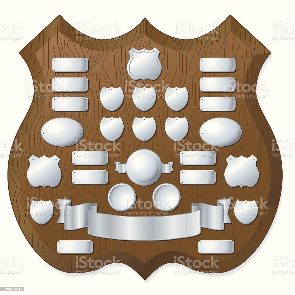 Dark Wood Trophy Shield royalty-free stock vector art