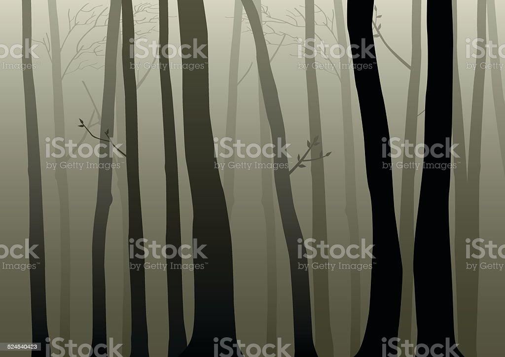 Dark Woods vector art illustration
