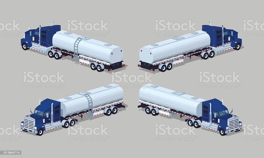 Dark-blue heavy truck with silver tank-trailer vector art illustration