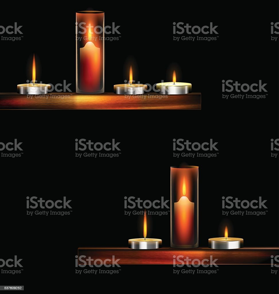darkness and burning candles vector art illustration