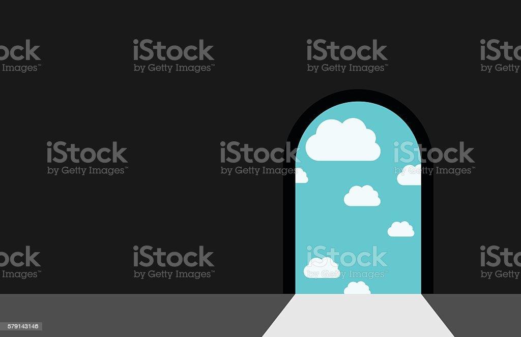 Darkness, door and heaven vector art illustration