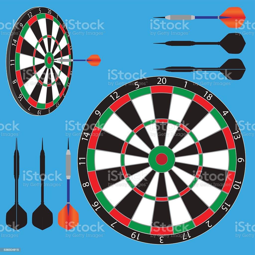 dart board and darts vector art illustration