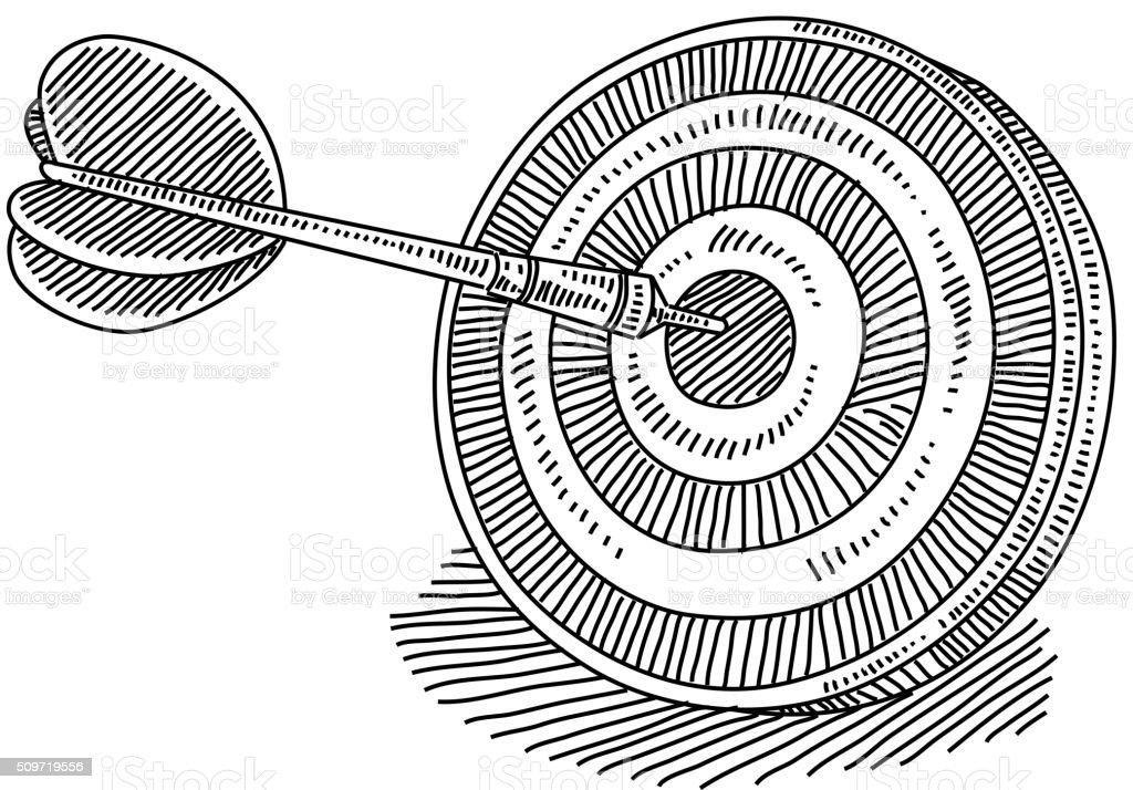 Dart board Drawing vector art illustration