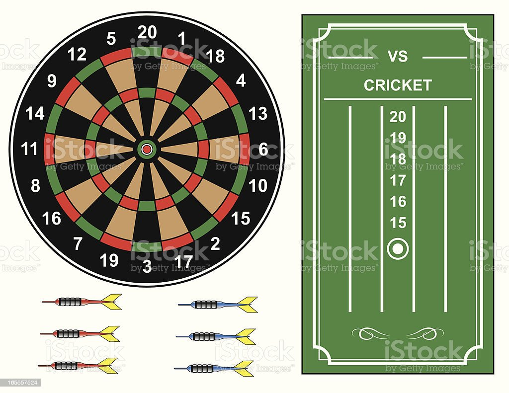 Dart Board with Cricket Scoreboard royalty-free stock vector art